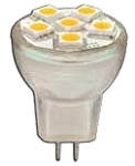 MR 8 1.5w 12v, GU4.0 Bi-Pin Socket, 65 lumens,  25,000 hrs, 3 yr warranty