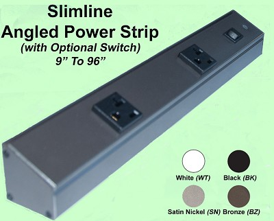 Angled Power Strip Slimline <i>(with single outlets Non & Tamper Resistant)</i>