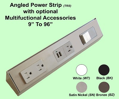 Angled Power Strip with Optional Multifunctional Accessories <i>(Build to your Exact Specifications)</i>