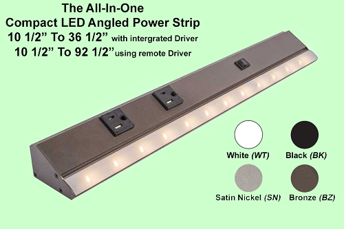Angled Power Strip Slimline with LED Lighting, (single receptacle, LPS Series)