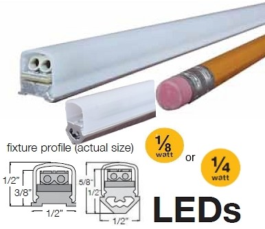 LED Mini Strip Light Fixtures (Flat or Angled) F or A Series